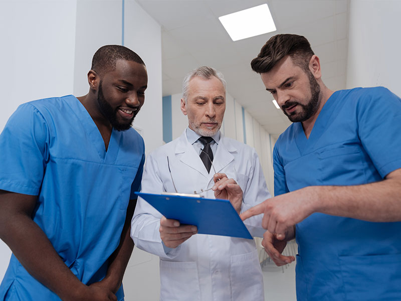 Physician reviewing a patient chart